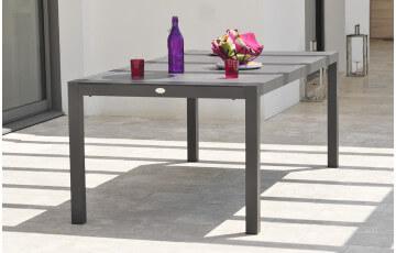 Table en aluminium et plateau duranite noir