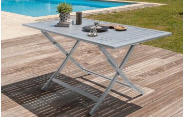 Table pliante en aluminium gris galet