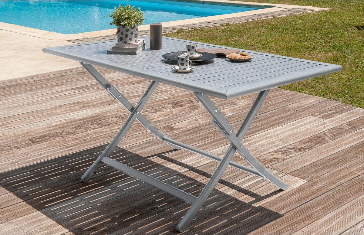 Tables de jardin Table pliante en aluminium jaune Mobilier ...