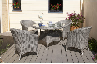 Salon de jardin ISA - table + 4fauteuils en résine tressée ronde