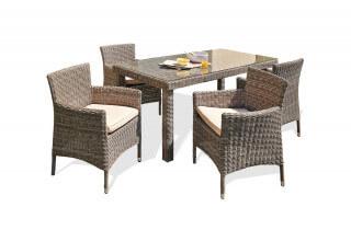 Ensemble salon de jardin ELEGANCE en résine tressée demi ronde + 4 fauteuils avec plateau de verre transparent