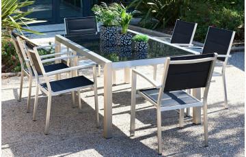 Ensemble de jardin PACIFIC en aluminium brosse table + 6 fauteuils
