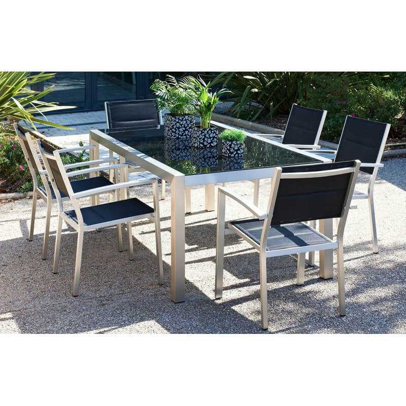best table de jardin aluminium brosse ideas awesome. Black Bedroom Furniture Sets. Home Design Ideas