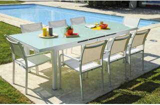 Ensemble ALGA, table + 8 fauteuils