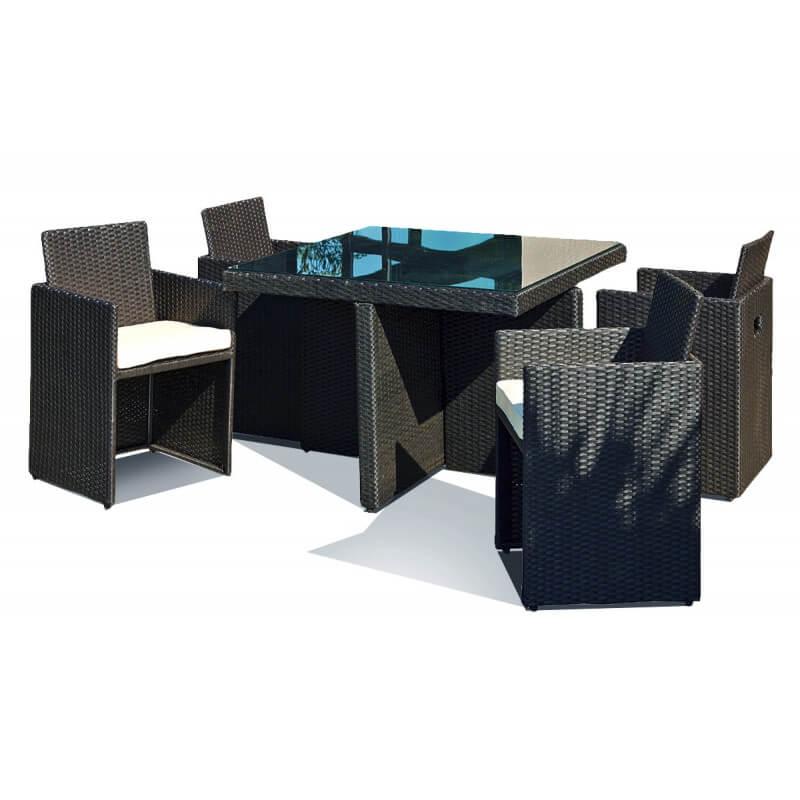 Ensemble table et 4 fauteuils encastrables le r ve chez vous for Salon avec fauteuil
