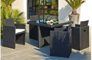 Salon de jardin design encastrable 4 places DCB Garden en résine tressée