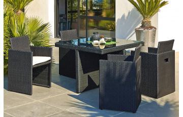 Salon de jardin Table résine tressée avec 4 fauteuils encastrables NOIR