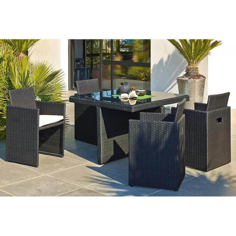 Ensemble table et 4 fauteuils encastrables - Le Rêve Chez Vous