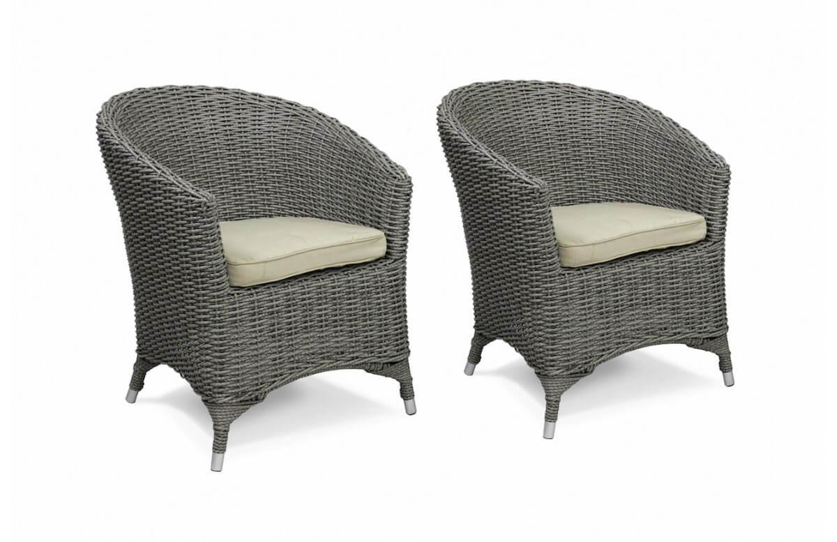 Lot de 2 fauteuils ISA en résine tressée ronde Luxe