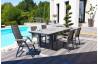 Salon de jardin avec 4 fauteuils aluminium et composite et 2 fauteuils multi-positions