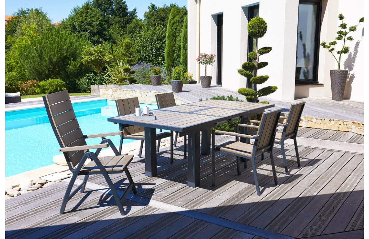 Salon de jardin - 4 fauteuils aluminium et composite + 2 fauteuils multipositions