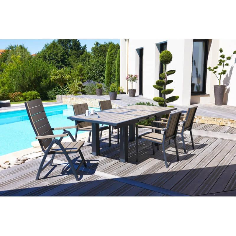 Salon de jardin avec 6 fauteuils composite et 2 fauteuils multi ...