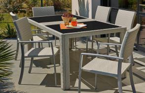 Salon de jardin en résine tressée gris ivoire 200X100cm + 6 fauteuils résine tressée et aluminium