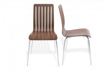 Chaise moderne WIND en bois couleur noyer