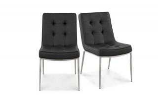 Chaise KOOL noire en simili cuir