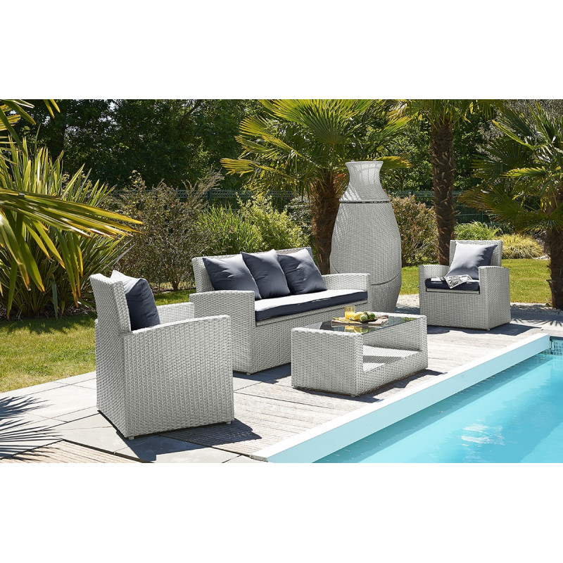 salon de jardin 4 places gris et totem 3 pi ces assortis le r ve chez vous. Black Bedroom Furniture Sets. Home Design Ideas
