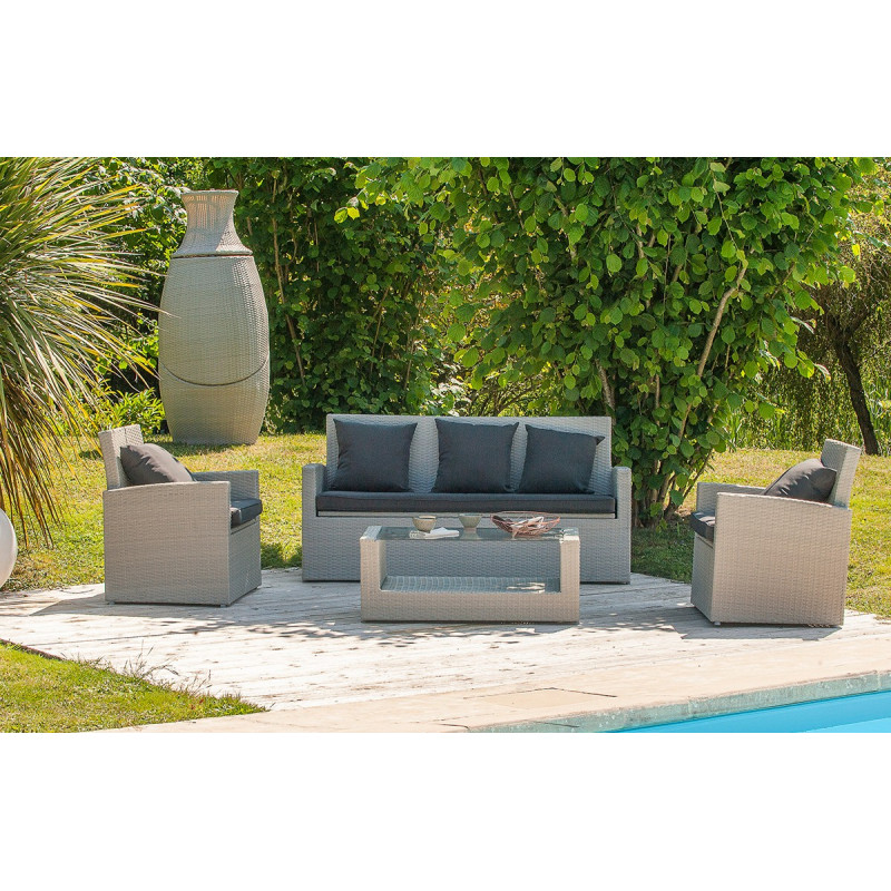 salon de jardin 4 places gris et totem 3 pi ces assortis le r ve chez vous. Black Bedroom Furniture Sets. Home Design Ideas