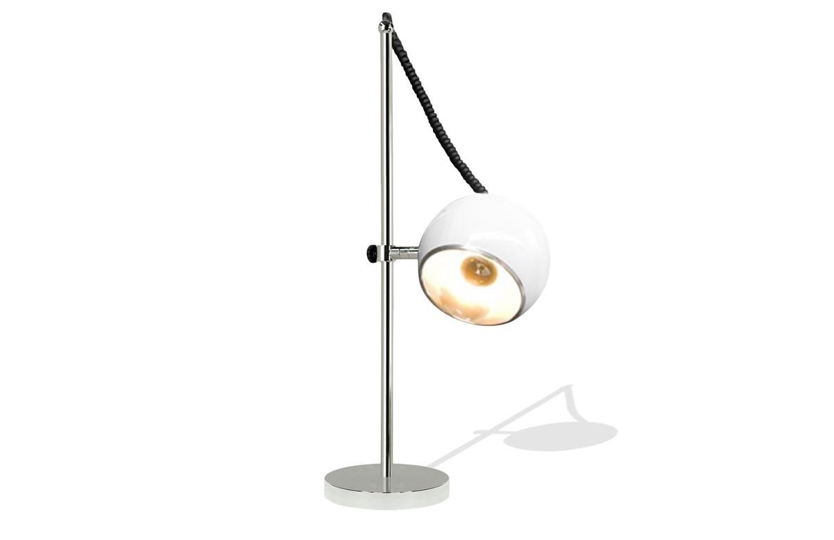 Lampadaire design globe blanc