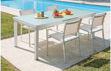 Ensemble ALGA, table + 4 fauteuils