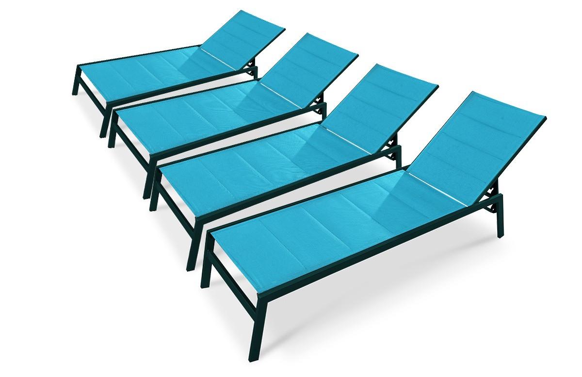 Lot de 4 bains de soleil PACIFIC turquoise