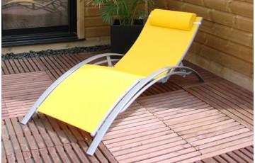 Chaise longue textilène jaune et aluminium gris