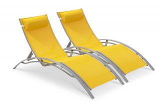 PACK Duo chaises longues textilène jaune et aluminium gris
