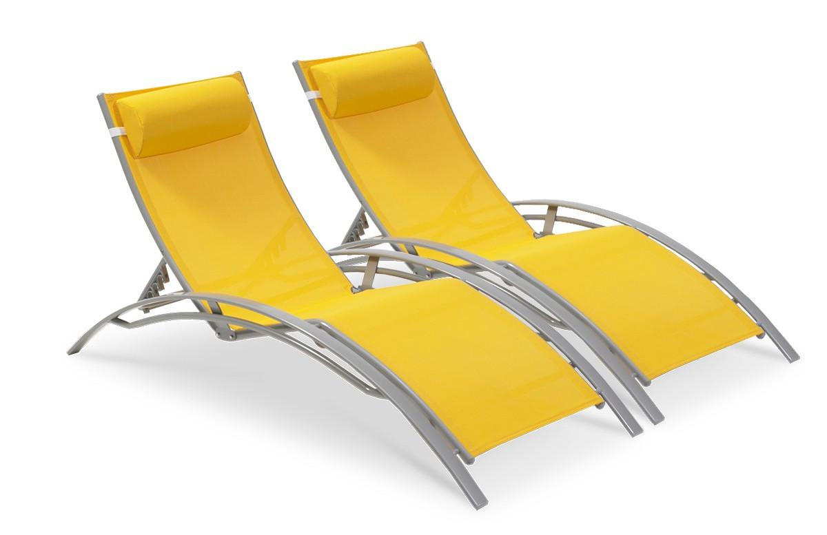 PACK DUO de bains de soleil jaune/gris