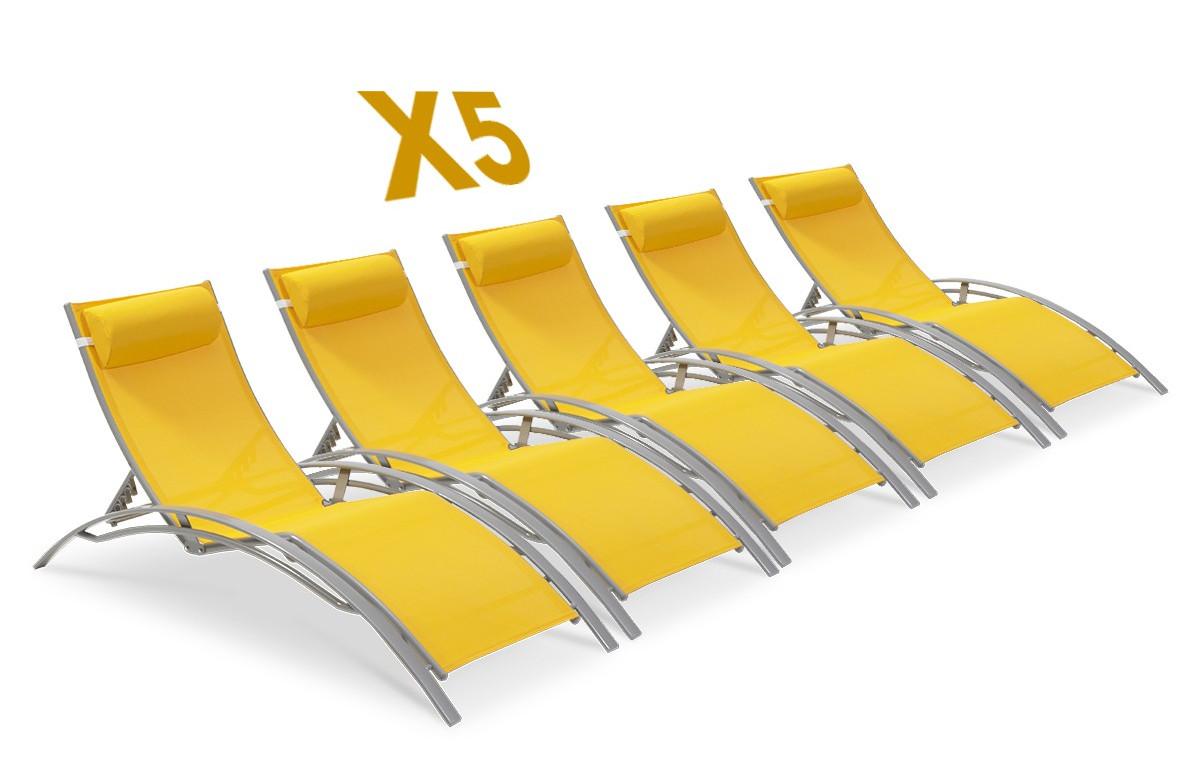 Lot de 5 bains de soleil multi-positions jaune