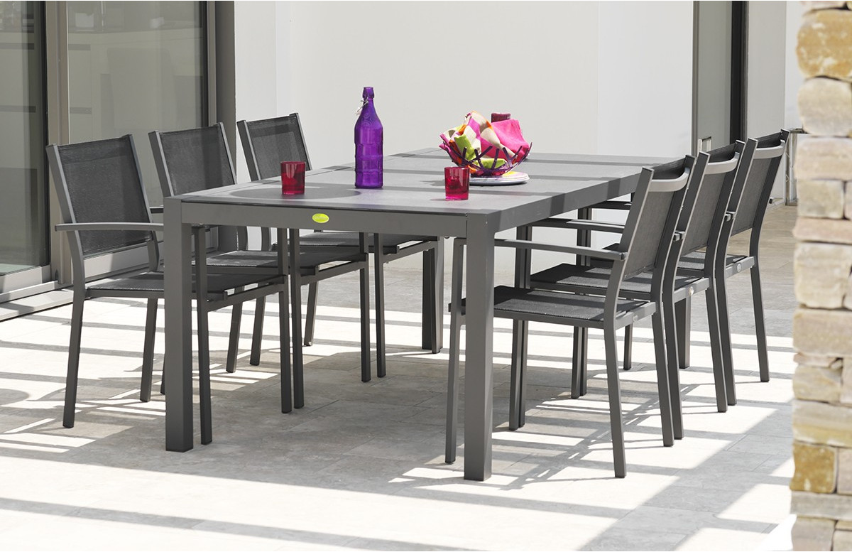 Ensemble table aluminium et duranite noir + 6 fauteuils assortis