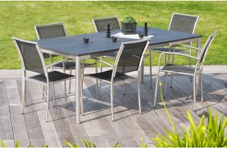 Ensemble table inox et duranite noir + 6 fauteuils assortis