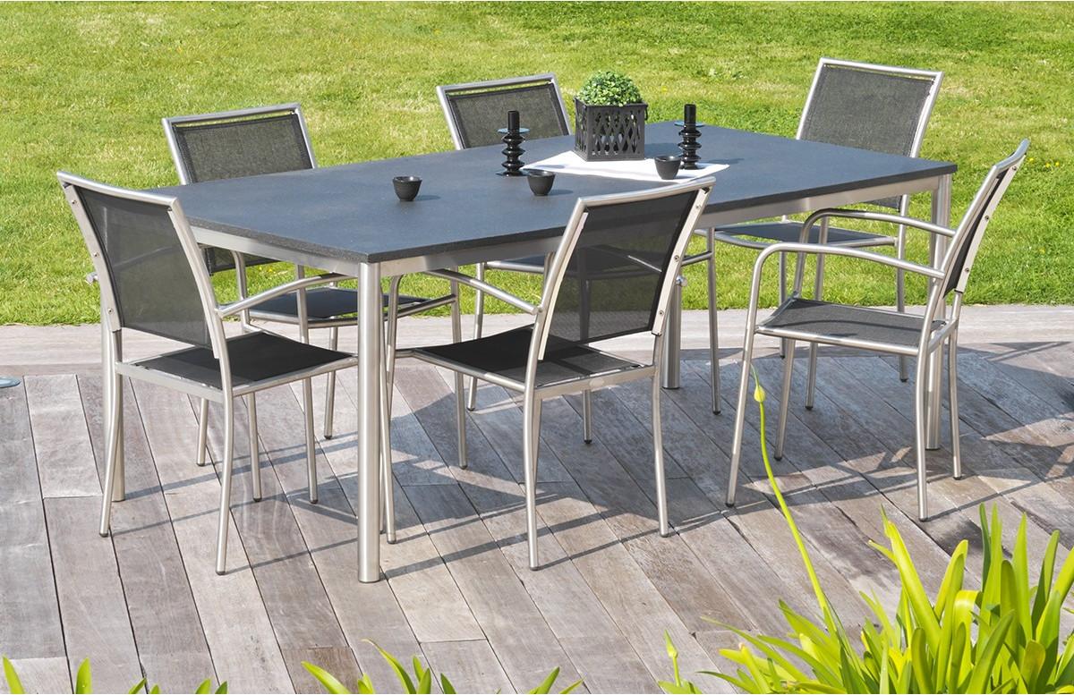 Ensemble table inox et duranite noir et 6 fauteuils assortis