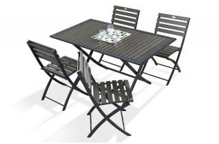 Table bois composite lame foncées et aluminium 4 personnes