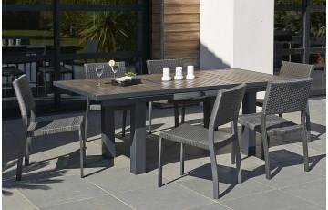 Table en aluminium cappuccino composite 160/220/100cm lames foncées + 6 chaises