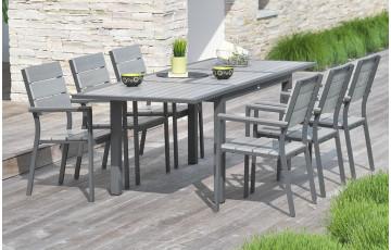 Salon de jardin - Table rallonge papillon + 6fauteuils aluminium et composite