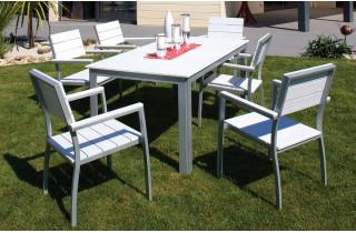 Table aluminium composite lame blanche