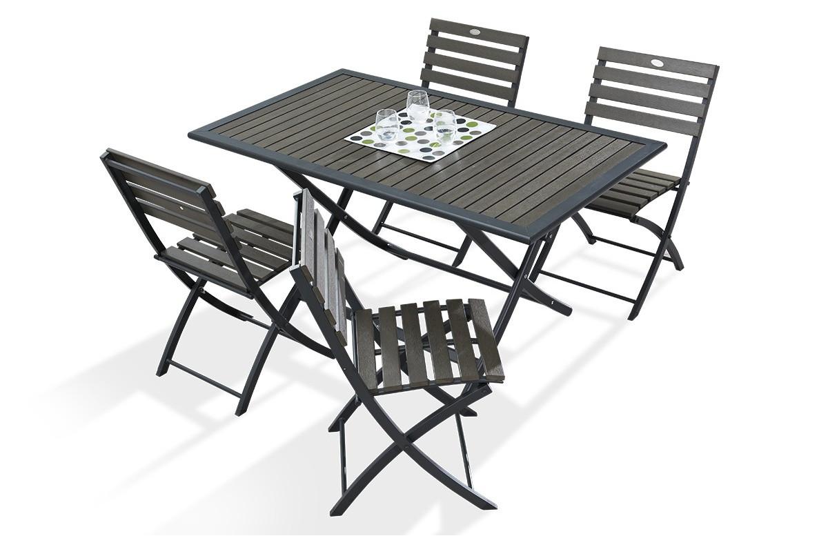 Ensemble Table et 4 Chaises en bois composite et acier