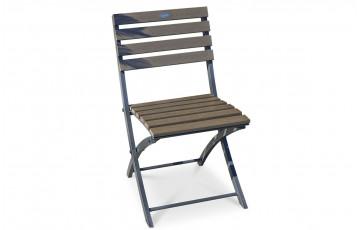 Chaise pliante acier et composite lames anthracite