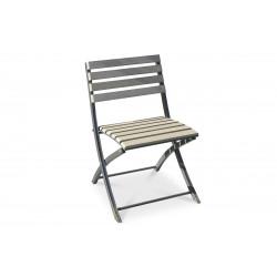 Chaise pliante acier et composite lames claires