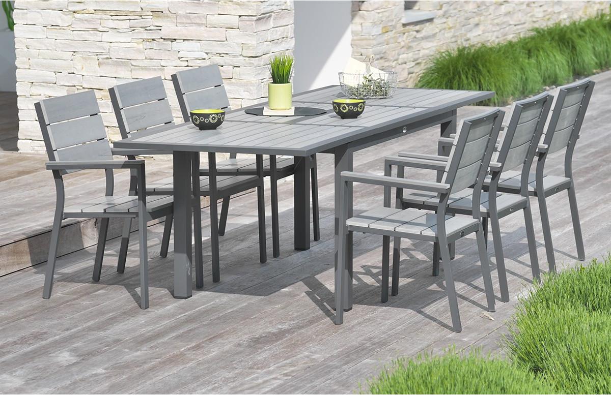 Salon de jardin - Table rallonge papillon et 6 chaises