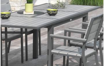 Table en aluminium et composite 10 à 12 places avec rallonge papillon
