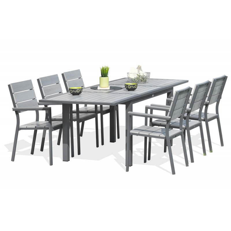 table de jardin aluminium avec rallonge table de jardin en alu gris avec rallonge 200 260 cm. Black Bedroom Furniture Sets. Home Design Ideas