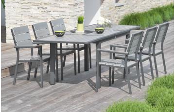 Ensemble table 10 à 12 places aluminium et composite + 6 fauteuils assortis