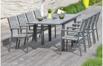 Ensemble table 10 à 12 places aluminium et composite + 8 fauteuils assortis