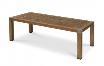 Table GERMAIN en teck et aluminium 220X100cm
