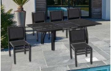 Ensemble table alu RALLONGE PAPILLON 180/240 cm + 6 chaises aluminium et textilène