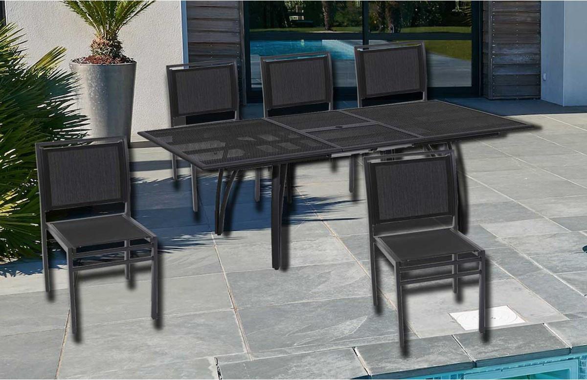 Ensemble table et 6 chaises aluminium et textilène