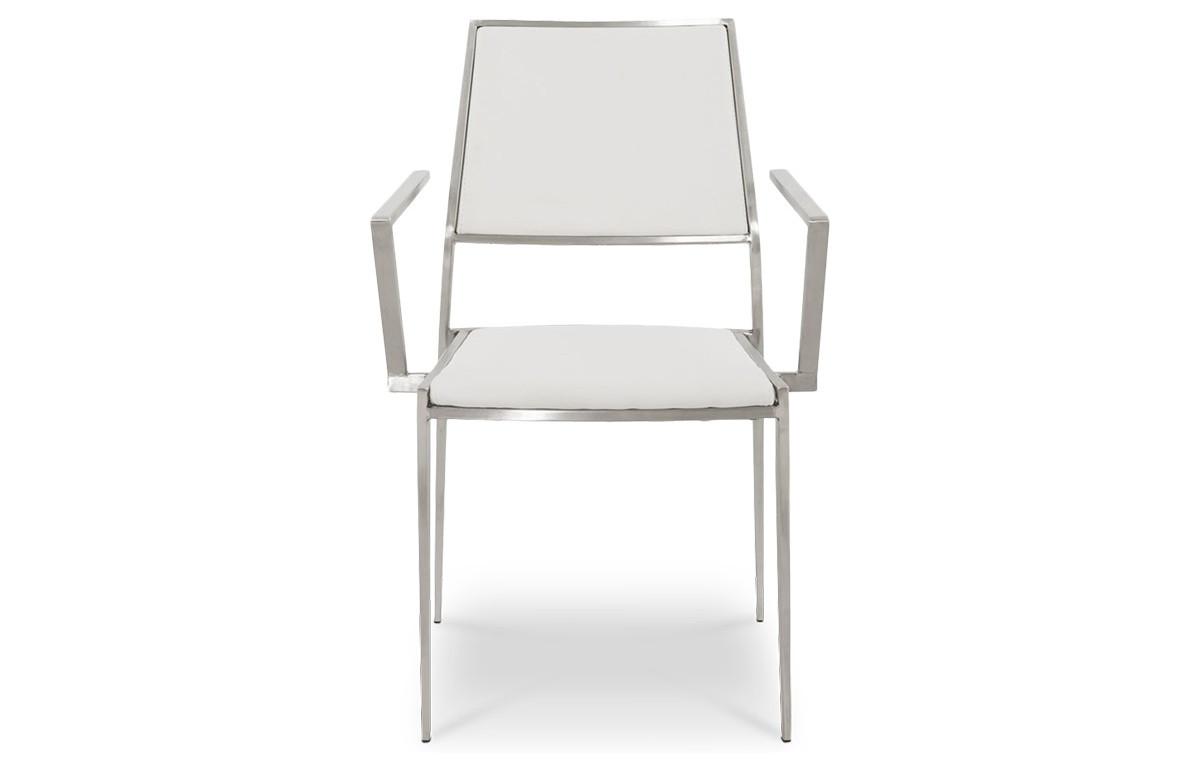 Chaise design FLOOR blanche en inox et similicuir