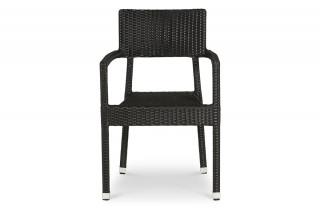 Chaise de terrasse KARAOKE noir en résine tressée