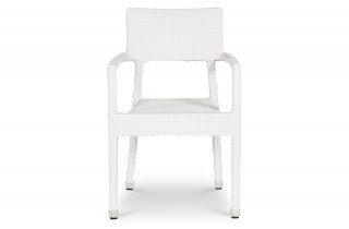 Chaise de terrasse KARAOKE blanche en osier tressée synthétique