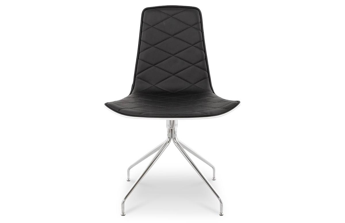 Chaise coque blanche similicuir noir